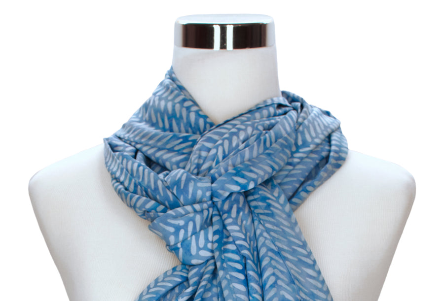 batik rayon scarf - cornflower blue - ColorUpLife