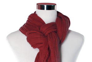 Cranberry Cotton Double Gauze Infinity Scarf by ColorUpLife