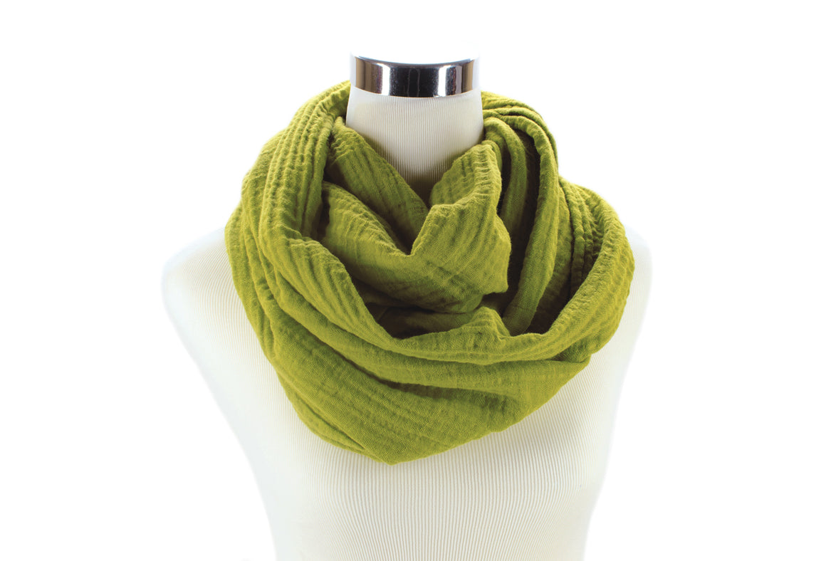Dark Chartreuse Double Cotton Gauze Infinity Scarf by ColorUpLife