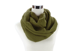 Dark Olive Cotton Double Gauze Infinity Scarf by ColorUpLife
