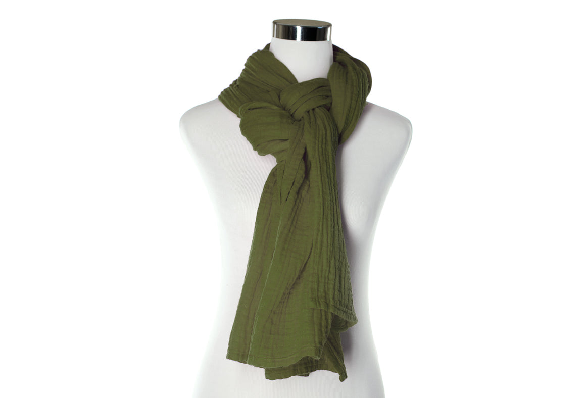 Dark Olive Cotton Double Gauze Scarf by ColorUpLife