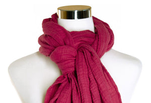 cotton double gauze scarf close-up image - deep fuchsia - ColorUpLife