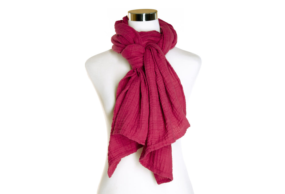 Hand-dyed Cotton Scarf - Deep Fuchsia
