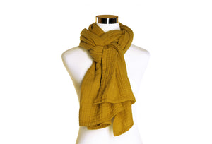 Dark Mustard Cotton Double Gauze Scarf by ColorUpLife