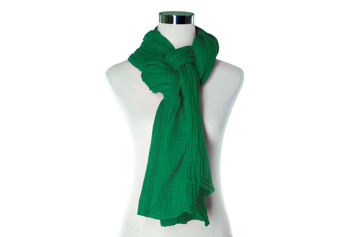 Emerald Cotton Double Gauze Scarf by ColorUpLife