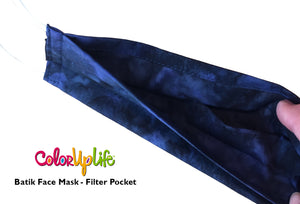 Filter Friendly Batik Face Masks - Navy - Extra Large Fit