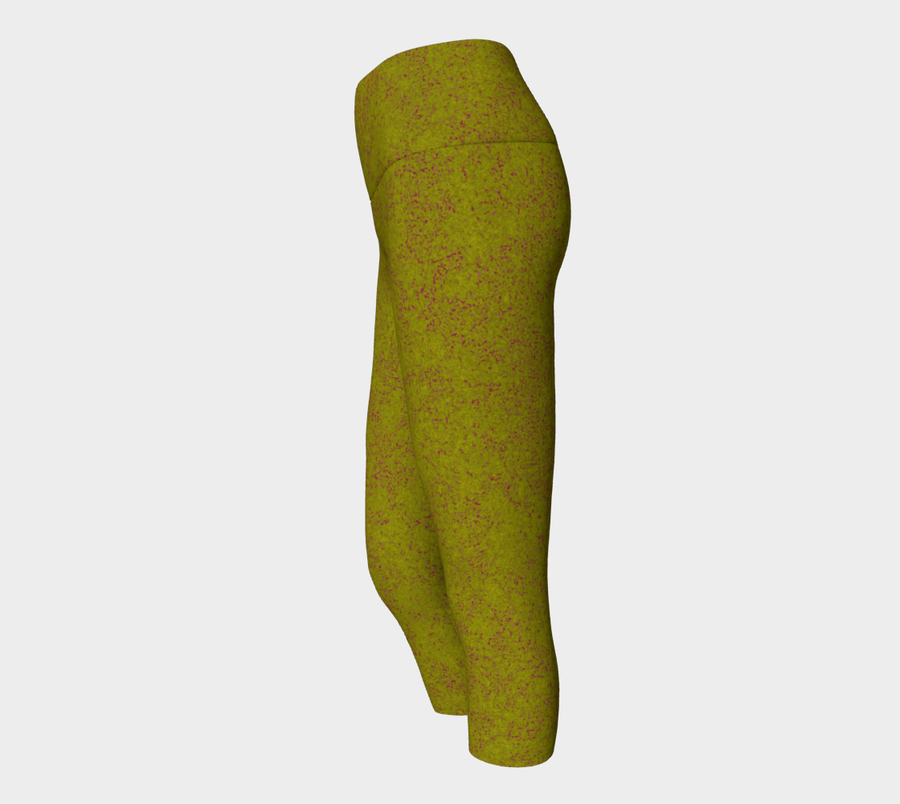 yoga capris - olive - zen style - front view with swatch - ColorUpLife