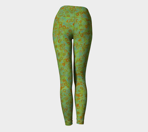 Yoga Leggings - Compression Fit - Green - Watercolor Circles
