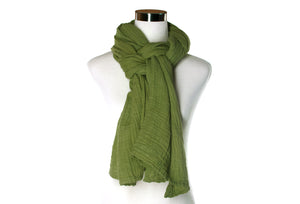 Fern Green Cotton Double Gauze Scarf by ColorUpLife