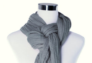 cotton double gauze scarf up-close - fossil gray - ColorUpLife