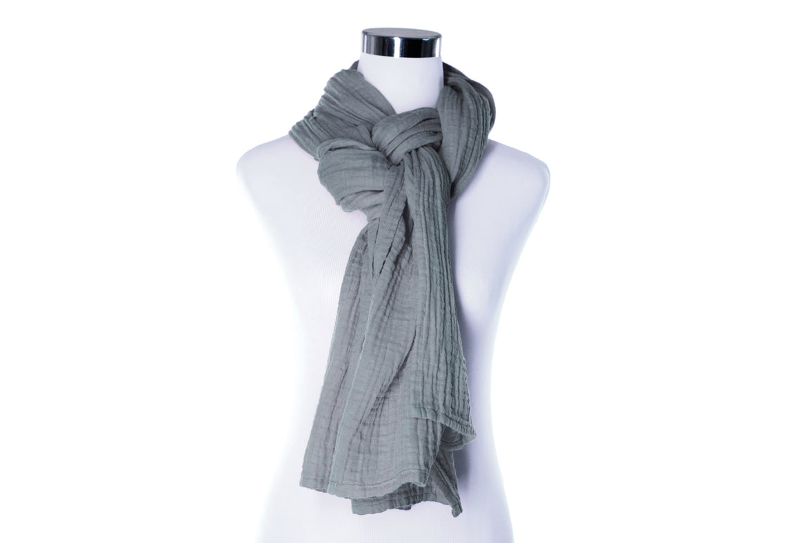 cotton double gauze scarf - fossil gray - ColorUpLife