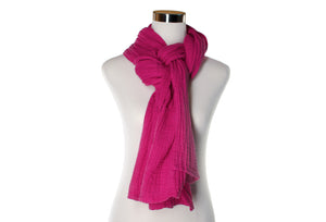 Cotton Double Gauze Scarf - Fuchsia