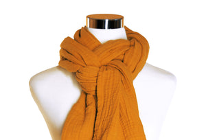 Golden Orange Cotton Double Gauze Scarf by ColorUpLife
