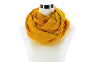 Golden Yellow Cotton Double Gauze Infinity Scarf by ColorUpLife