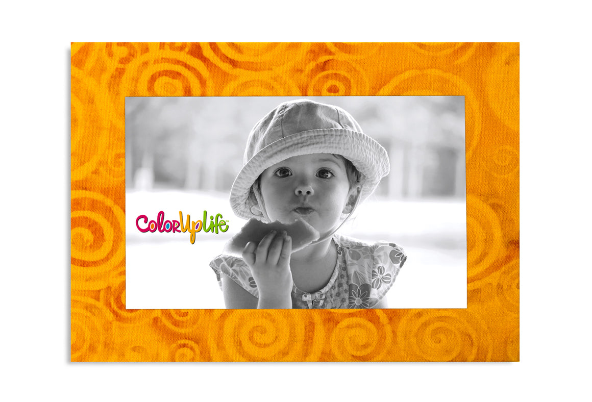 Magnetic Picture Frame - Golden Yellow Swirls