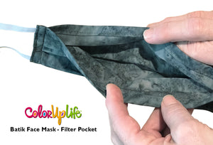 Large Fit Batik Face Mask with Filter Pocket by ColorUpLife