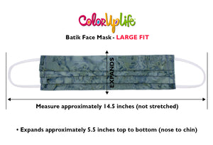 Large Fit Filter Friendly Batik Face Mask Dimensions by ColorUpLife