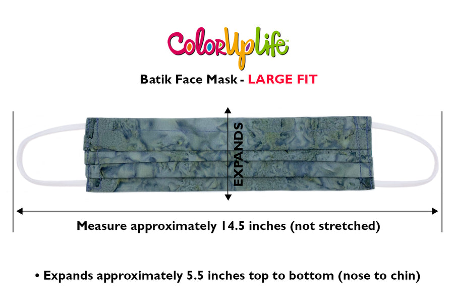 Large Fit Filter Friendly Batik Face Masks by ColorUpLife