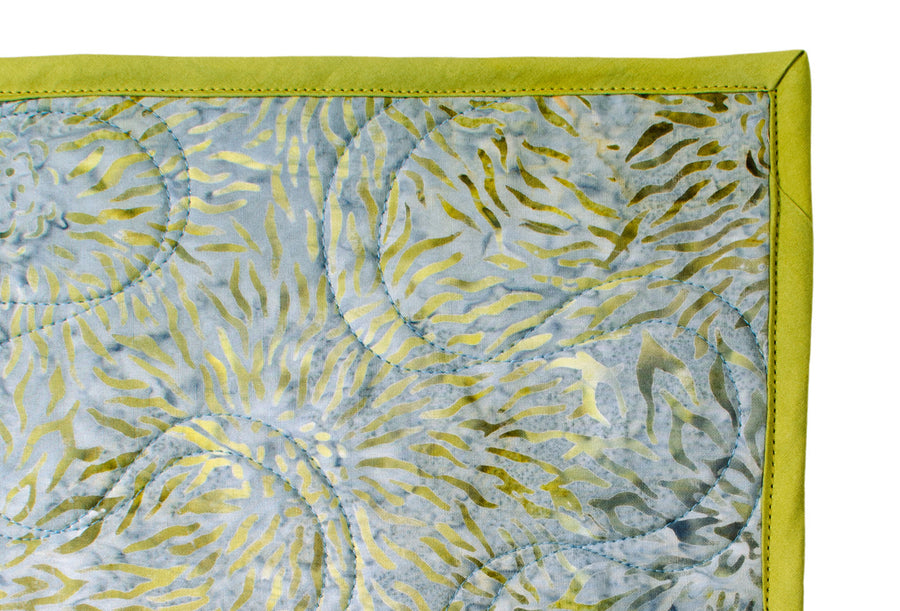 Batik Quilt - Gray and Chartreuse