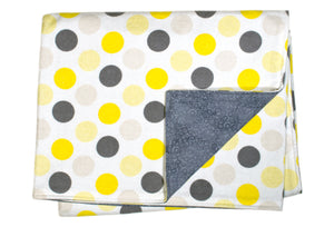 Flannel Blanket - Gray and Yellow Dot