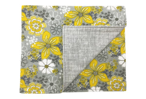 Gray and Yellow Floral Flannel Blanket by ColorUpLife