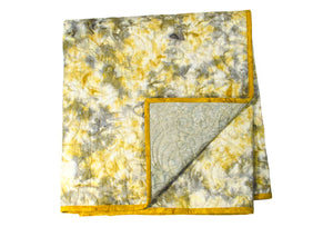 Batik Quilt - Gray and Yellow