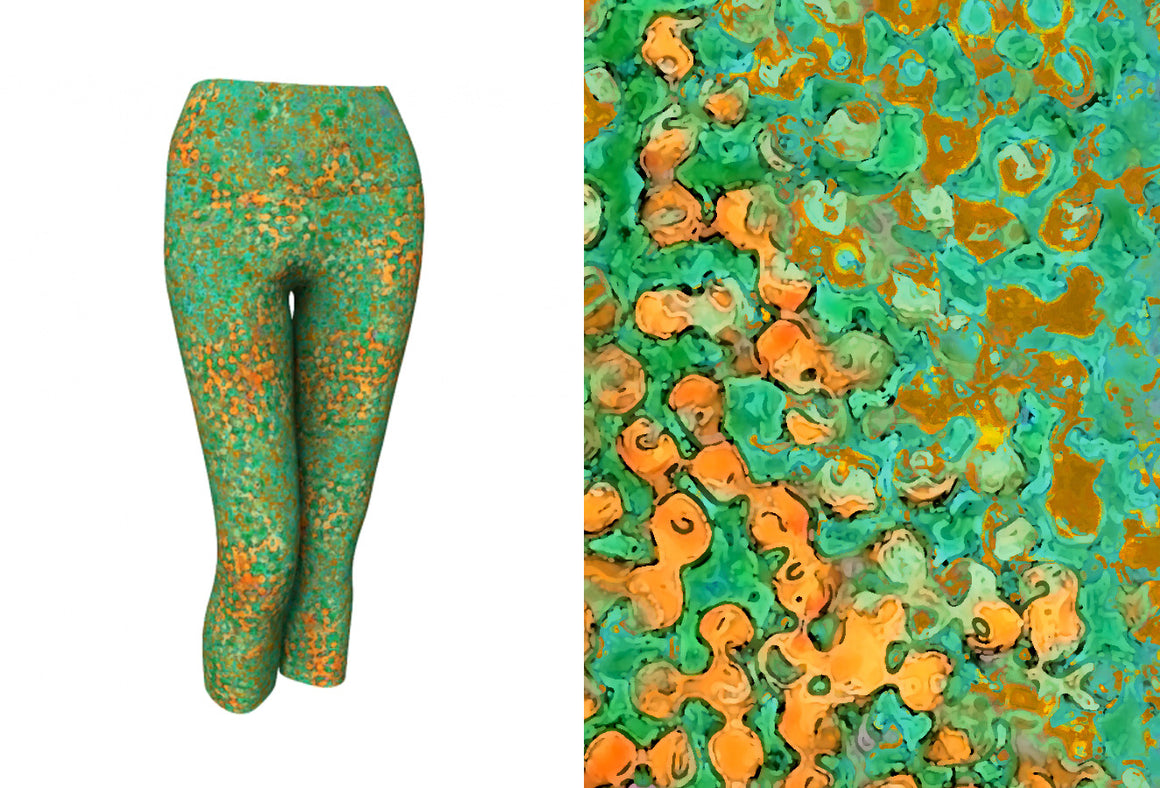 yoga capris - green - reef style - front view with swatch - ColorUpLife