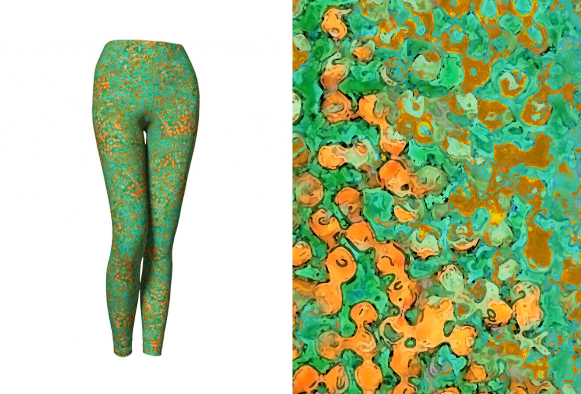 yoga leggings - green - reef style - front view with swatch - ColorUpLife