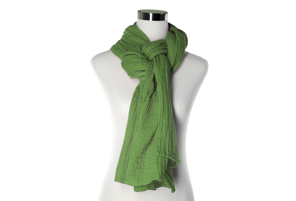 cotton double gauze scarf - green - ColorUpLife