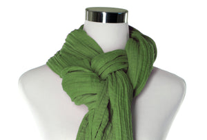 cotton double gauze scarf up-close - green - ColorUpLife