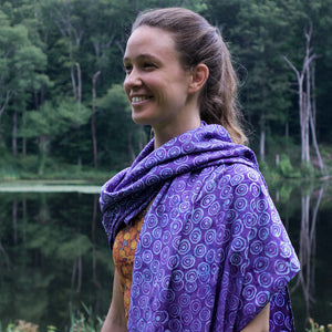 batik rayon scarf - violet and blue - circle pattern - ColorUpLife