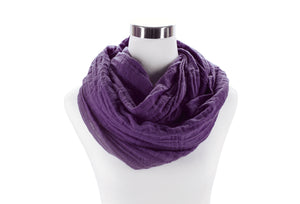 Purple Cotton Double Gauze Infinity Scarf by ColorUpLife