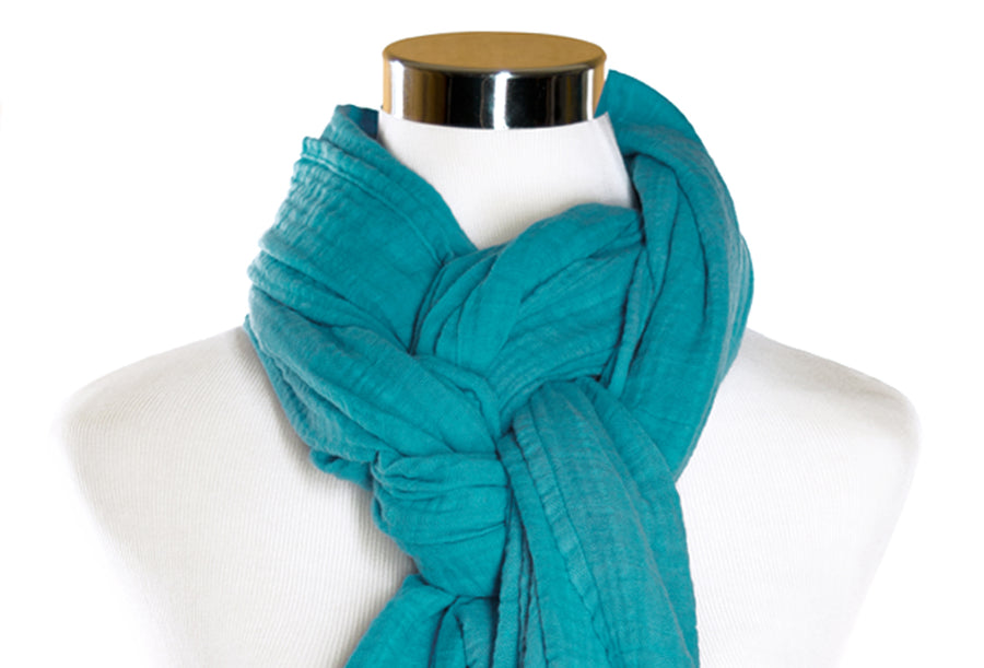 Island Blue Cotton Double Gauze Scarf by ColorUpLife