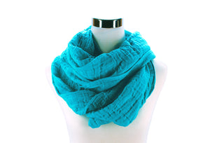 Island Blue Cotton Double Gauze Infinity Scarf by ColorUpLife