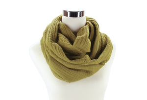 Khaki Cotton Double Gauze Infinity Scarf by ColorUpLife