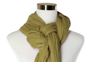 Khaki Cotton Double Gauze Scarf by ColorUpLife