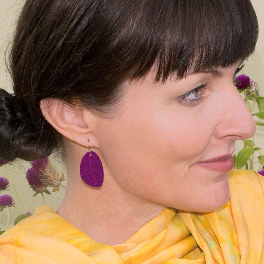 Plum Organic Leaf Earrings by ColorUpLife