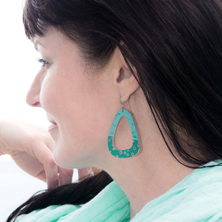 Smokey Teal Party Dot Triangle Earrings by ColorUpLife