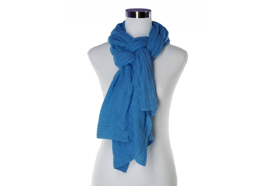 Lapis Cotton Double Gauze Scarf by ColorUpLife