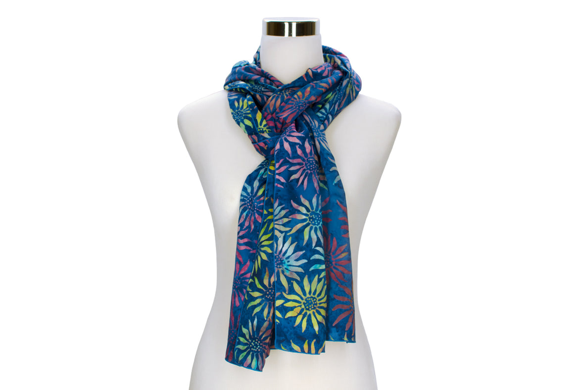 Lapis Sunflower Batik Rayon Scarf by ColorUpLife