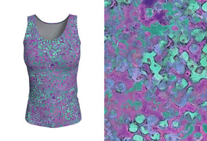 fitted tank - lavender - reef style - front view with swatch - ColorUpLife