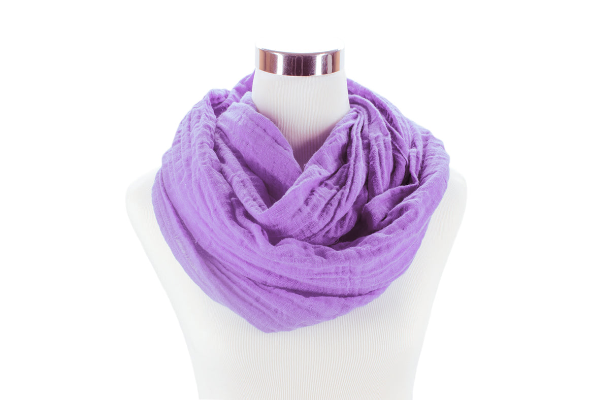 infinity scarf - cotton double gauze - lavender - ColorUpLife
