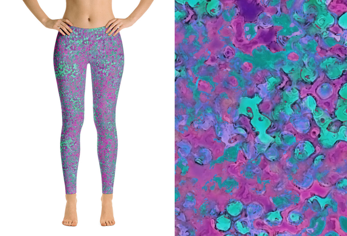 capri leggings - lavender - reef style - front view and swatch - ColorUpLife