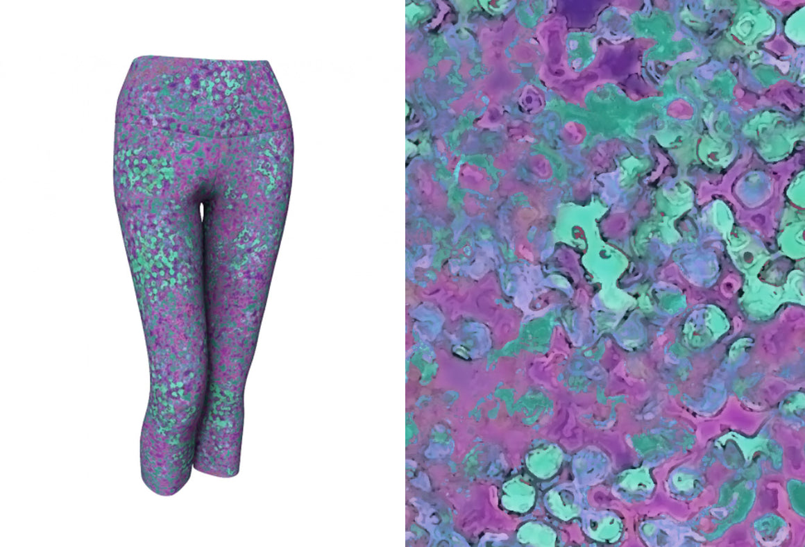 yoga capris - lavender - reef style - front view with swatch - ColorUpLife