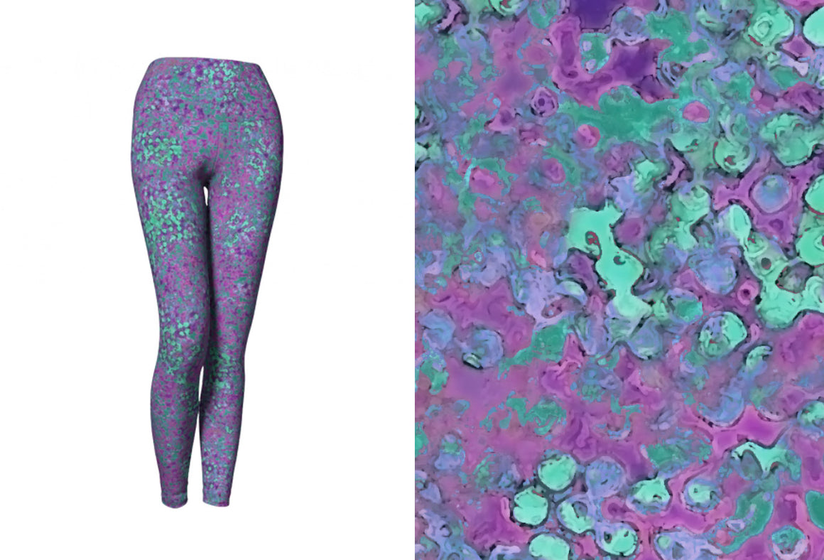 yoga leggings - lavender - reef style - front view with swatch - ColorUpLife