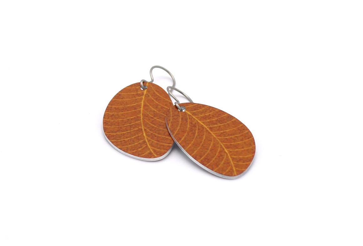 Brown Organic Leaf Earrings by ColorUpLife