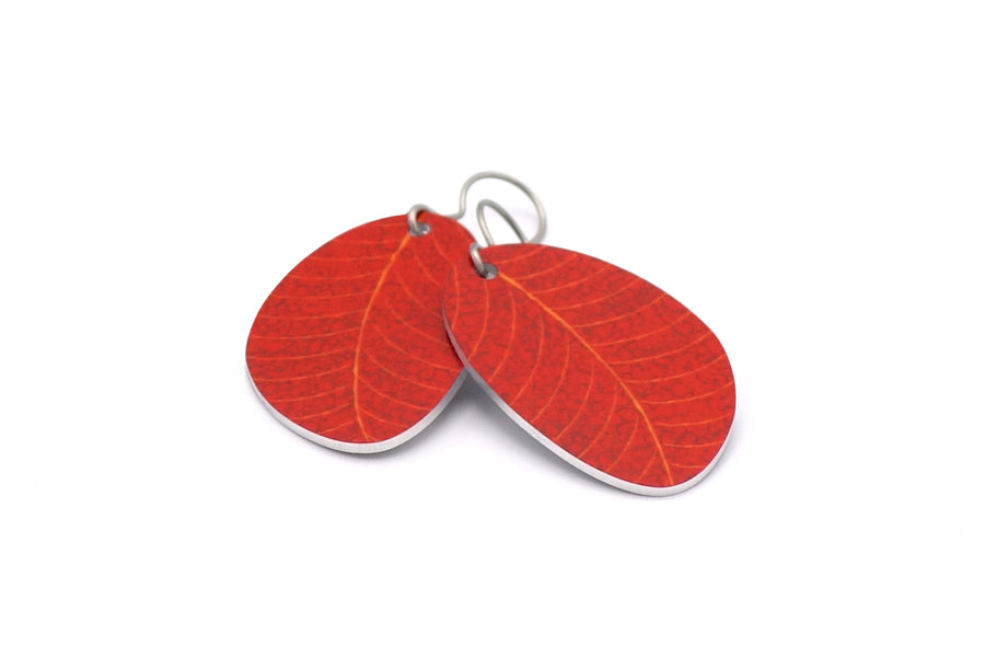 Burnt Red Organic Leaf Earrings by ColorUpLife