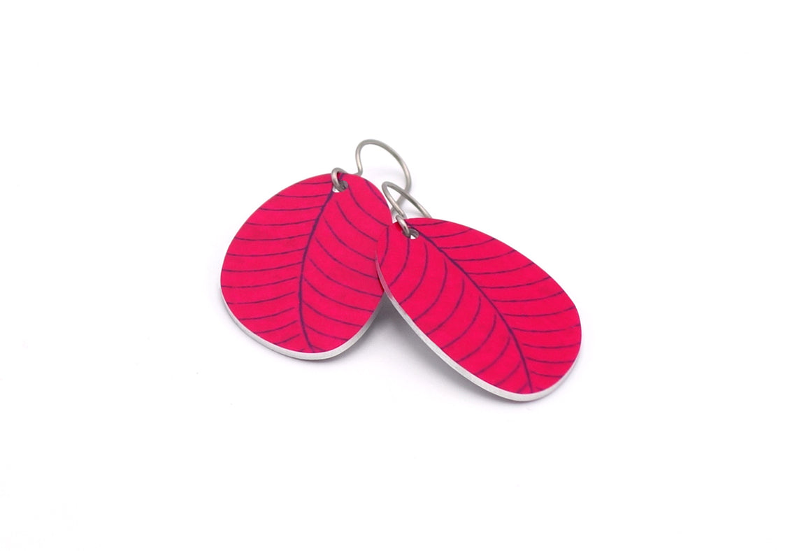 Fuchsia Organic Leaf Earrings by ColorUpLife