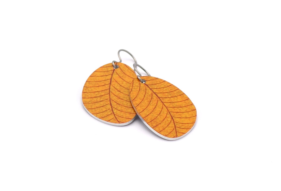Golden Organic Leaf Earrings by ColorUpLife