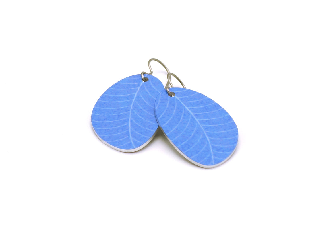 Sky Blue Organic Leaf Earrings by ColorUpLife
